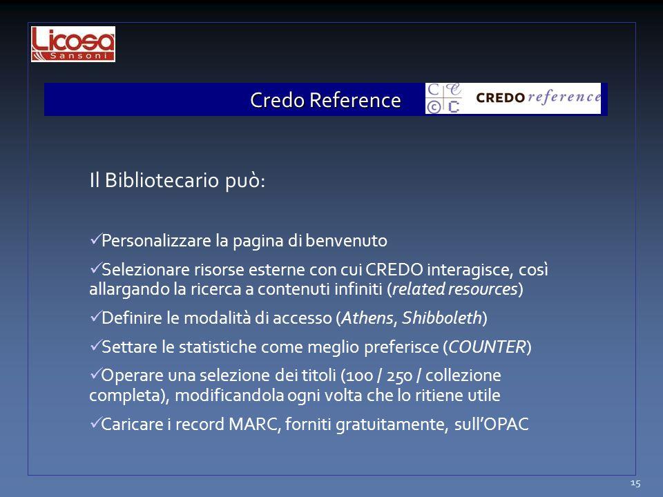 Credo Reference Il Bibliotecario può: Personalizzare la pagina di benvenuto Selezionare risorse esterne con cui CREDO interagisce, così allargando la