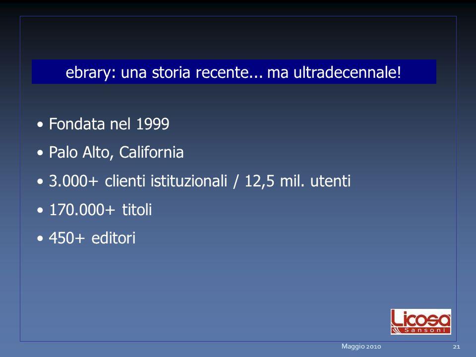ebrary: una storia recente... ma ultradecennale! Fondata nel 1999 Palo Alto, California 3.000+ clienti istituzionali / 12,5 mil. utenti 170.000+ titol
