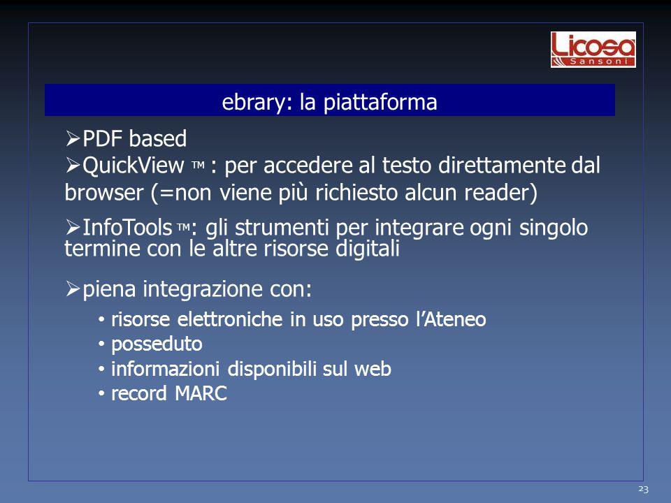 23  PDF based  QuickView TM : per accedere al testo direttamente dal browser (=non viene più richiesto alcun reader)  InfoTools TM : gli strumenti per integrare ogni singolo termine con le altre risorse digitali  piena integrazione con: risorse elettroniche in uso presso l'Ateneo posseduto informazioni disponibili sul web record MARC ebrary: la piattaforma