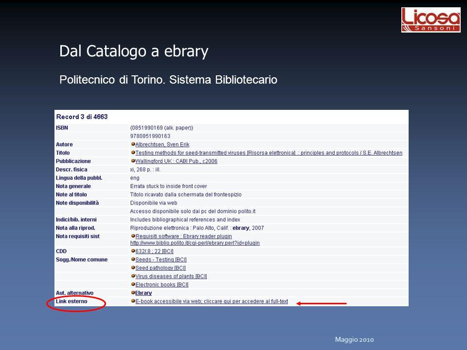 Politecnico di Torino. Sistema Bibliotecario Dal Catalogo a ebrary Maggio 2010