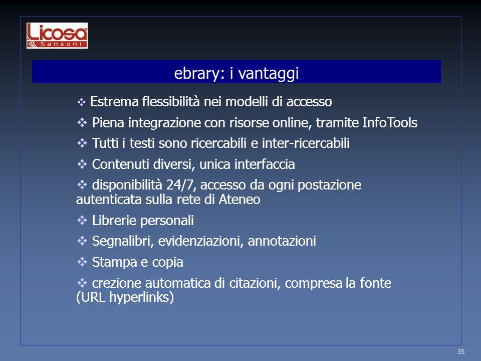 35  Estrema flessibilità nei modelli di accesso  Piena integrazione con risorse online, tramite InfoTools  Tutti i testi sono ricercabili e inter-r