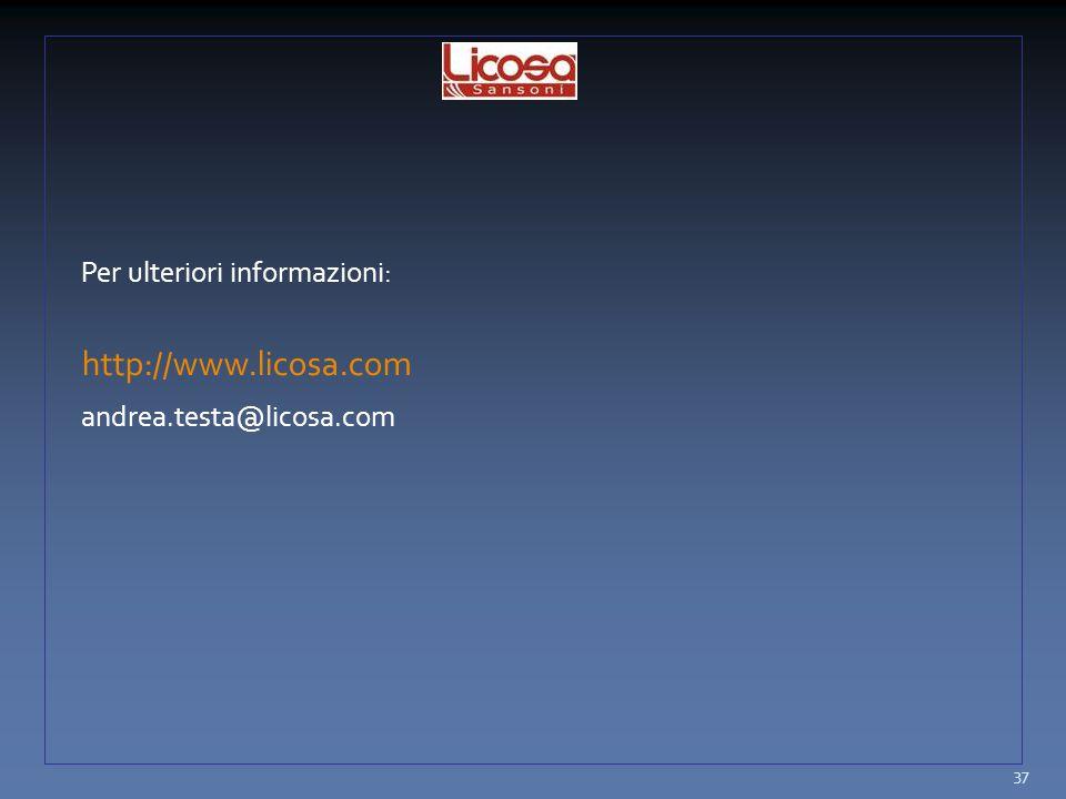 Per ulteriori informazioni: http://www.licosa.com andrea.testa@licosa.com 37