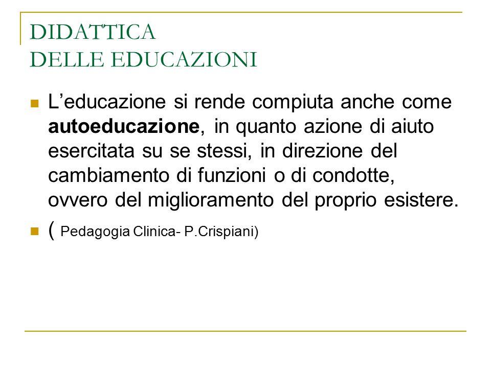 DIDATTICA DELLE EDUCAZIONI L'educazione si rende compiuta anche come autoeducazione, in quanto azione di aiuto esercitata su se stessi, in direzione d
