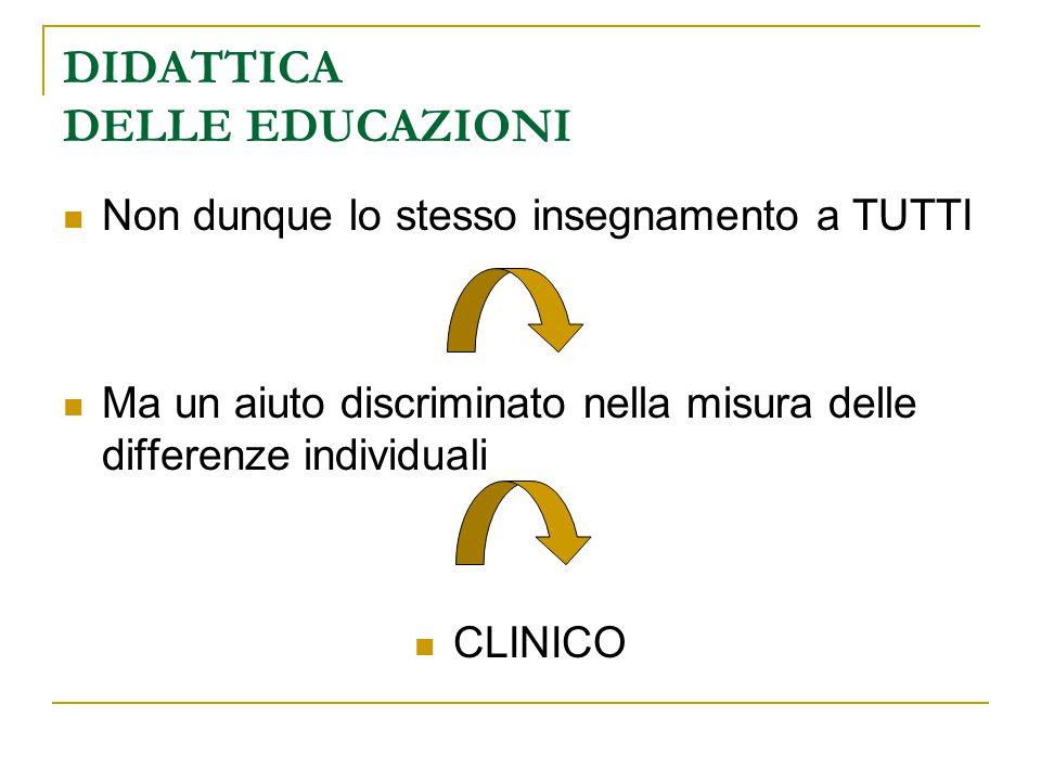 DIDATTICA DELLE EDUCAZIONI Non dunque lo stesso insegnamento a TUTTI Ma un aiuto discriminato nella misura delle differenze individuali CLINICO