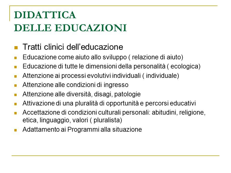 DIDATTICA DELLE EDUCAZIONI Tratti clinici dell'educazione Educazione come aiuto allo sviluppo ( relazione di aiuto) Educazione di tutte le dimensioni