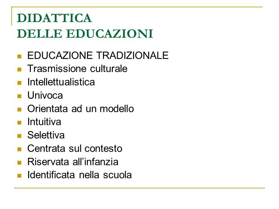 DIDATTICA DELLE EDUCAZIONI EDUCAZIONE TRADIZIONALE Trasmissione culturale Intellettualistica Univoca Orientata ad un modello Intuitiva Selettiva Centr