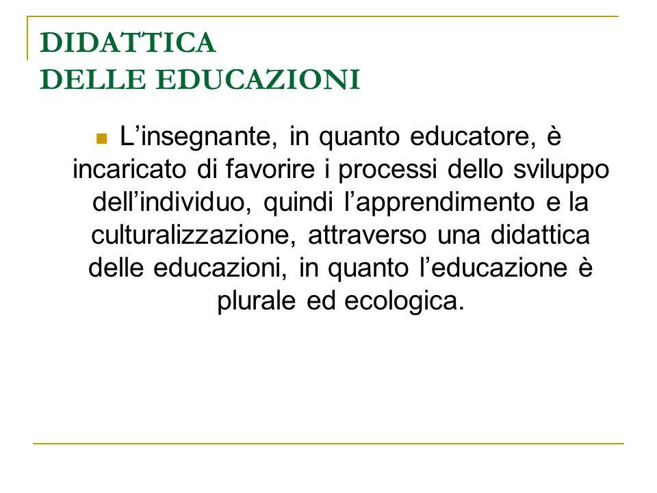 DIDATTICA DELLE EDUCAZIONI L'insegnante, in quanto educatore, è incaricato di favorire i processi dello sviluppo dell'individuo, quindi l'apprendiment