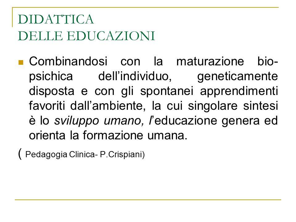 DIDATTICA DELLE EDUCAZIONI Combinandosi con la maturazione bio- psichica dell'individuo, geneticamente disposta e con gli spontanei apprendimenti favo