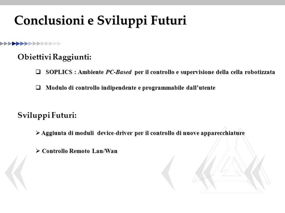 Conclusioni e Sviluppi Futuri Obiettivi Raggiunti:  SOPLICS : Ambiente PC-Based per il controllo e supervisione della cella robotizzata Sviluppi Futu