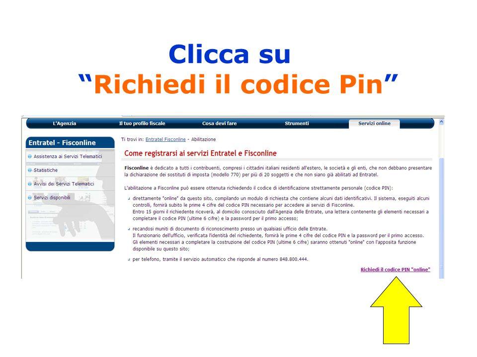 Clicca su Richiedi il codice Pin