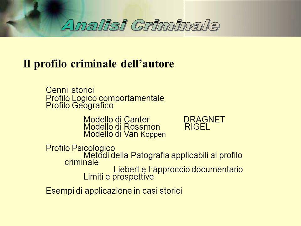 Il profilo criminale dell'autore Cenni storici Profilo Logico comportamentale Profilo Geografico Modello di Canter DRAGNET Modello di Rossmon RIGEL Mo