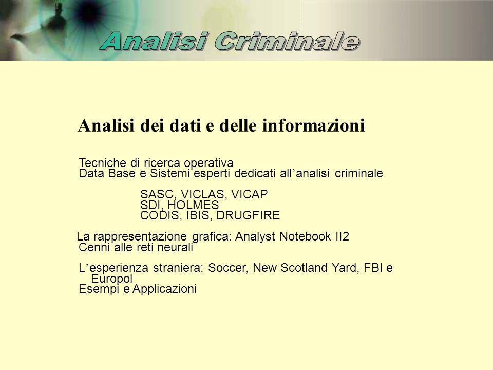 Analisi dei dati e delle informazioni Tecniche di ricerca operativa Data Base e Sistemi esperti dedicati all ' analisi criminale SASC, VICLAS, VICAP S