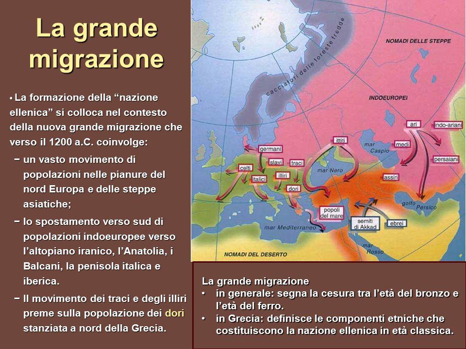 La grande migrazione La formazione della nazione ellenica si colloca nel contesto della nuova grande migrazione che verso il 1200 a.C.