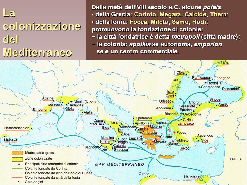 La colonizzazione del Mediterraneo Dalla metà dell'VIII secolo a.C. alcune poleis della Grecia: Corinto, Megara, Calcide, Thera; della Grecia: Corinto