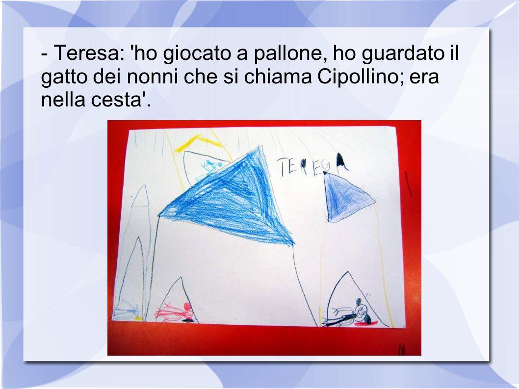 - Teresa: 'ho giocato a pallone, ho guardato il gatto dei nonni che si chiama Cipollino; era nella cesta'.