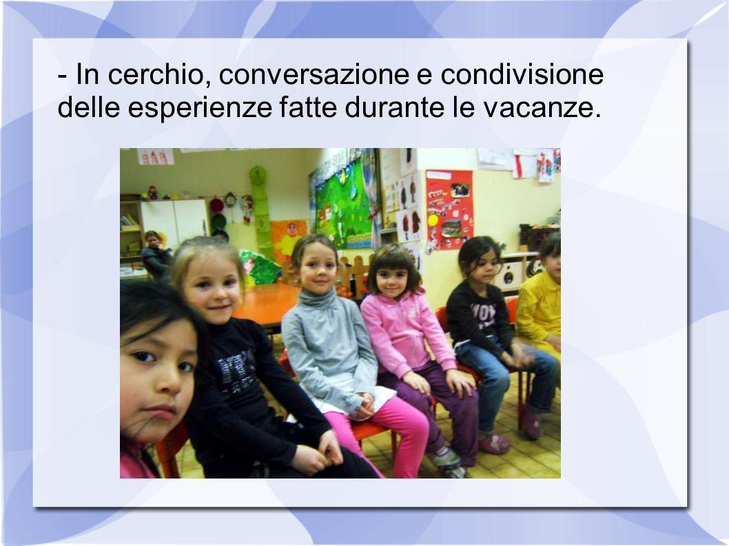 - In cerchio, conversazione e condivisione delle esperienze fatte durante le vacanze.