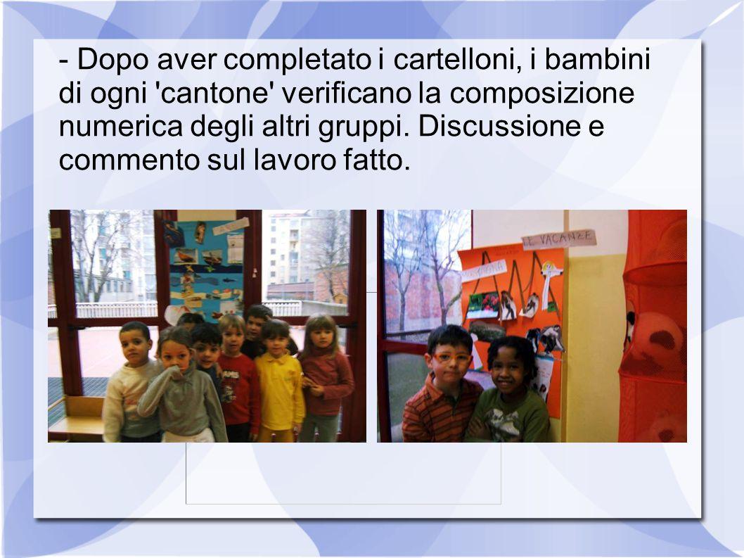 - Dopo aver completato i cartelloni, i bambini di ogni 'cantone' verificano la composizione numerica degli altri gruppi. Discussione e commento sul la