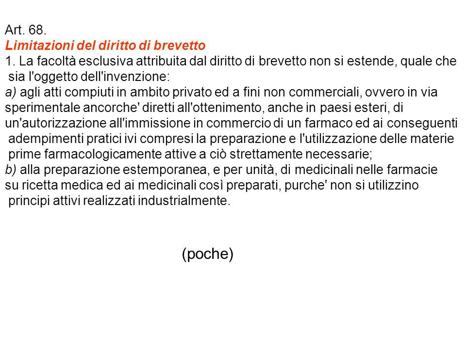 Art. 68. Limitazioni del diritto di brevetto 1.