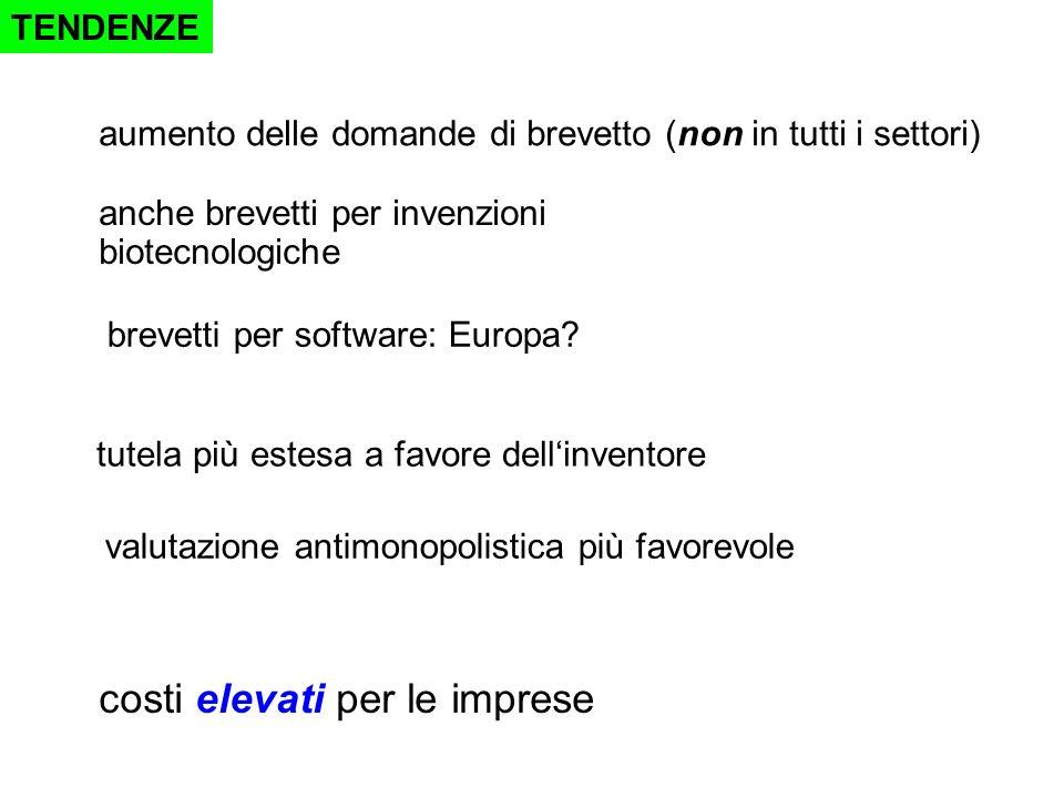TENDENZE anche brevetti per invenzioni biotecnologiche brevetti per software: Europa.