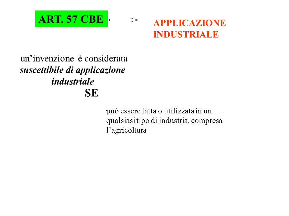 ART. 57 CBE APPLICAZIONE INDUSTRIALE un'invenzione è considerata suscettibile di applicazione industriale SE può essere fatta o utilizzata in un quals