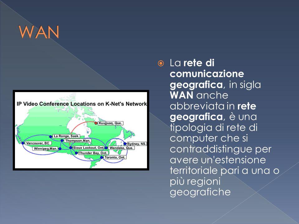  La rete di comunicazione geografica, in sigla WAN anche abbreviata in rete geografica, è una tipologia di rete di computer che si contraddistingue per avere un estensione territoriale pari a una o più regioni geografiche