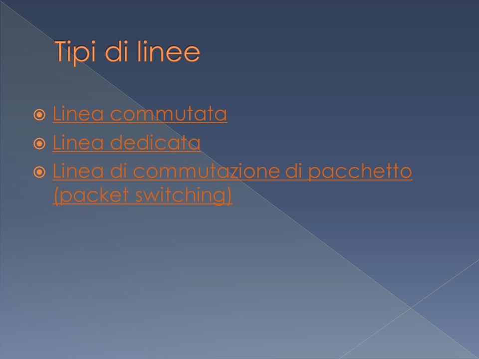  Linea commutata Linea commutata  Linea dedicata Linea dedicata  Linea di commutazione di pacchetto (packet switching) Linea di commutazione di pacchetto (packet switching)