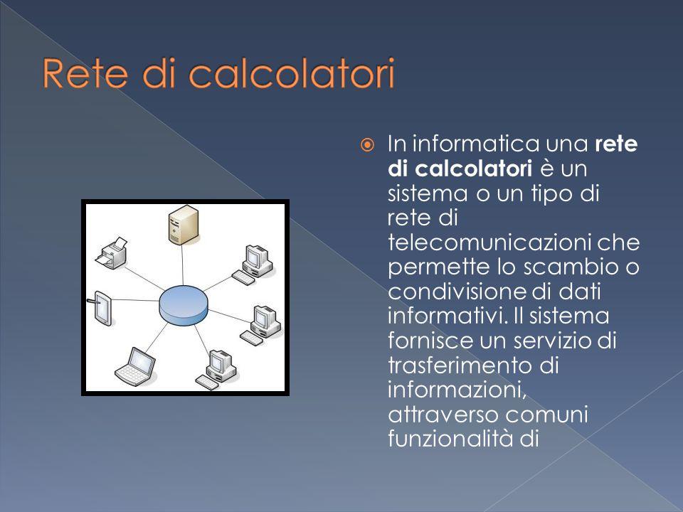  In informatica una rete di calcolatori è un sistema o un tipo di rete di telecomunicazioni che permette lo scambio o condivisione di dati informativi.