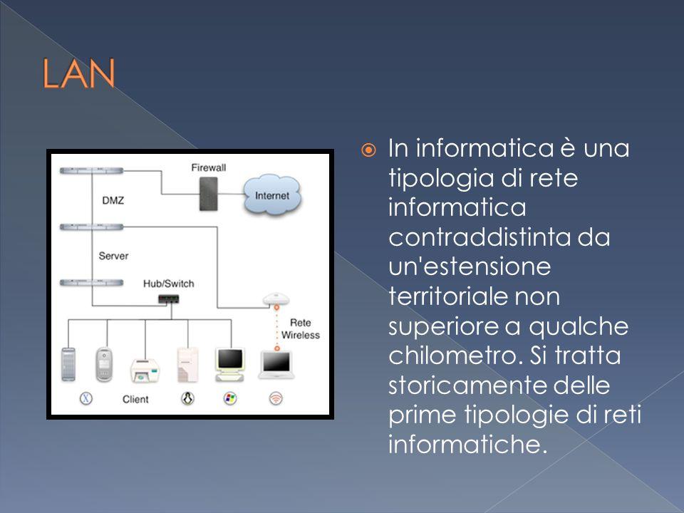  In informatica è una tipologia di rete informatica contraddistinta da un estensione territoriale non superiore a qualche chilometro.