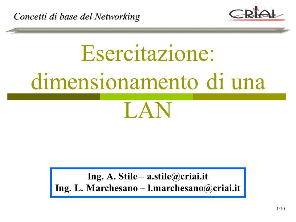 Esercitazione: dimensionamento di una LAN Concetti di base del Networking Ing. A. Stile – a.stile@criai.it Ing. L. Marchesano – l.marchesano@criai.it