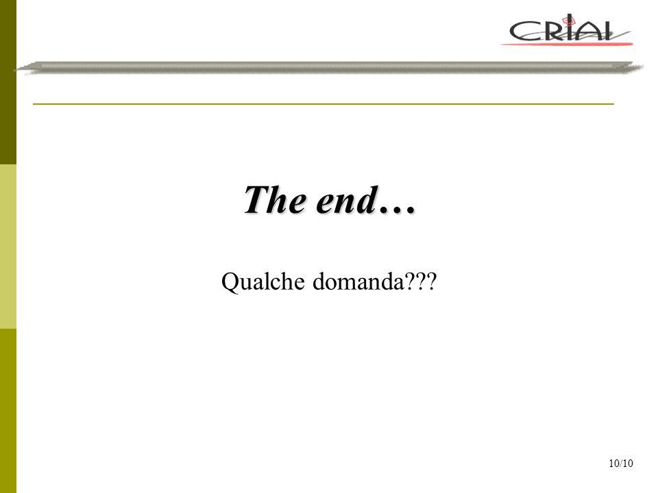 The end… Qualche domanda??? 10/10