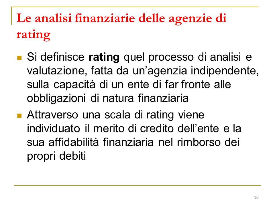 10 Le analisi finanziarie delle agenzie di rating Si definisce rating quel processo di analisi e valutazione, fatta da un'agenzia indipendente, sulla capacità di un ente di far fronte alle obbligazioni di natura finanziaria Attraverso una scala di rating viene individuato il merito di credito dell'ente e la sua affidabilità finanziaria nel rimborso dei propri debiti