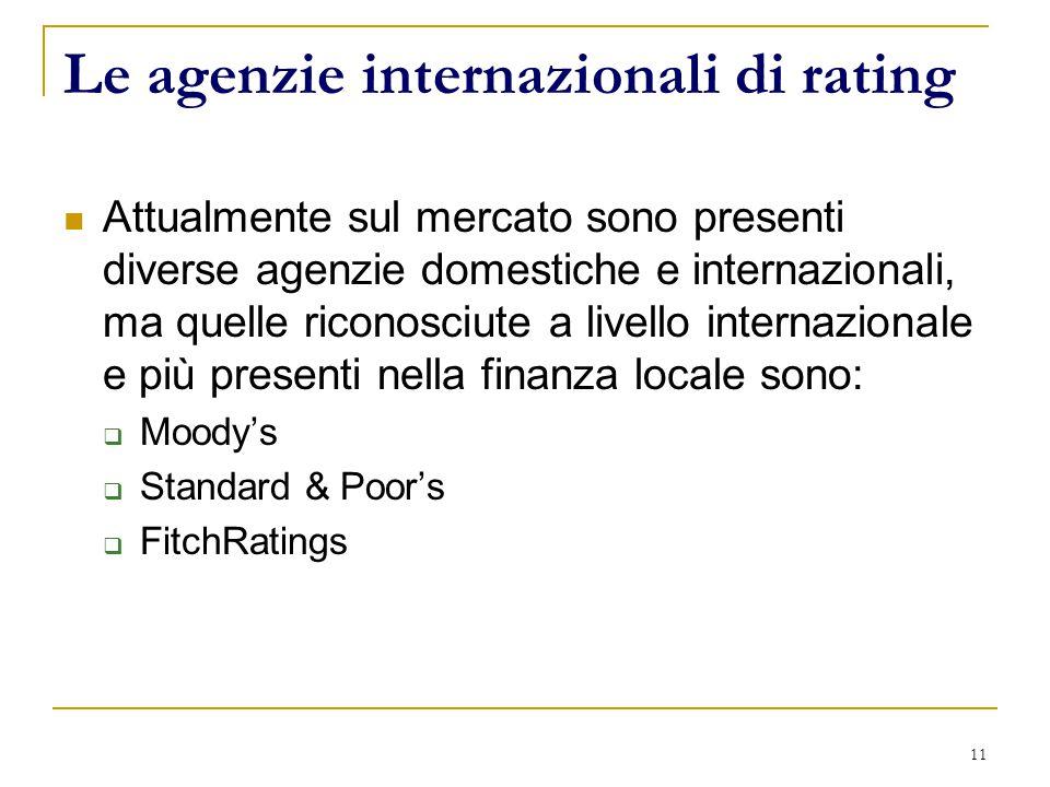 11 Le agenzie internazionali di rating Attualmente sul mercato sono presenti diverse agenzie domestiche e internazionali, ma quelle riconosciute a livello internazionale e più presenti nella finanza locale sono:  Moody's  Standard & Poor's  FitchRatings