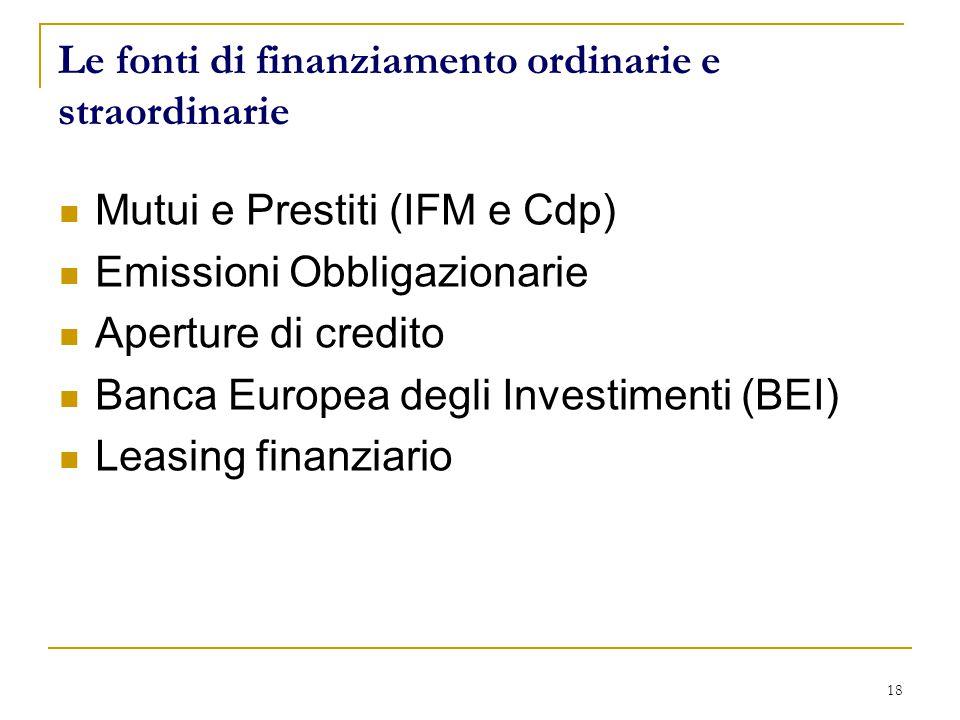 18 Le fonti di finanziamento ordinarie e straordinarie Mutui e Prestiti (IFM e Cdp) Emissioni Obbligazionarie Aperture di credito Banca Europea degli Investimenti (BEI) Leasing finanziario