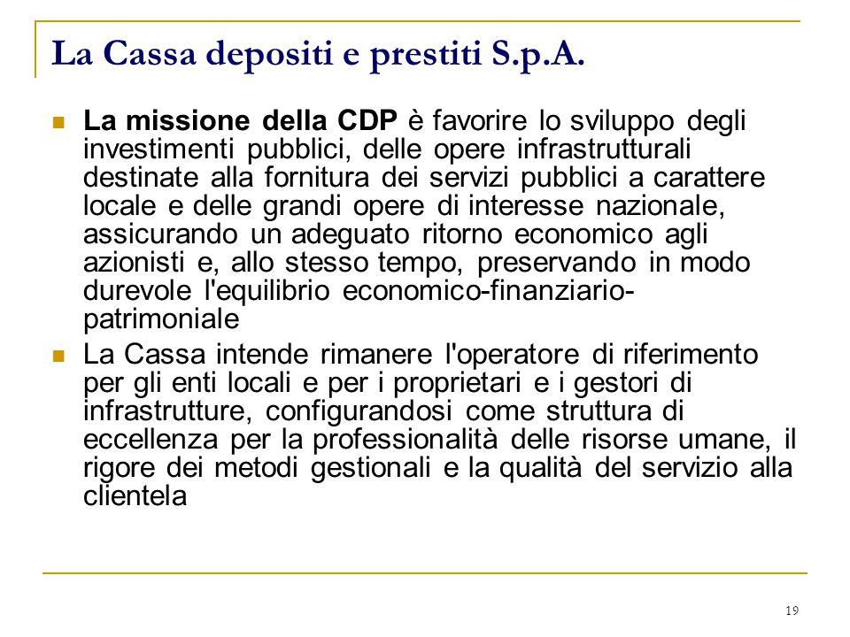 19 La Cassa depositi e prestiti S.p.A.