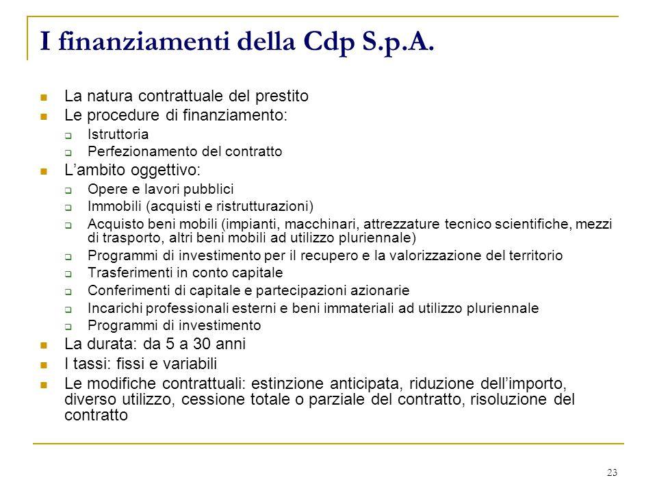 23 I finanziamenti della Cdp S.p.A.