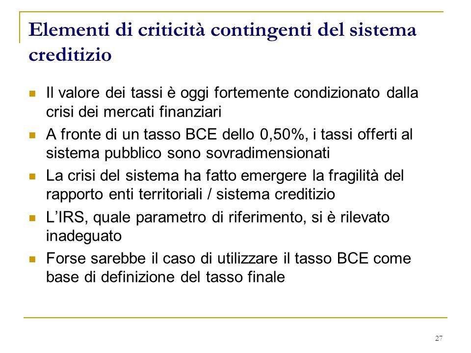 Elementi di criticità contingenti del sistema creditizio Il valore dei tassi è oggi fortemente condizionato dalla crisi dei mercati finanziari A fronte di un tasso BCE dello 0,50%, i tassi offerti al sistema pubblico sono sovradimensionati La crisi del sistema ha fatto emergere la fragilità del rapporto enti territoriali / sistema creditizio L'IRS, quale parametro di riferimento, si è rilevato inadeguato Forse sarebbe il caso di utilizzare il tasso BCE come base di definizione del tasso finale 27