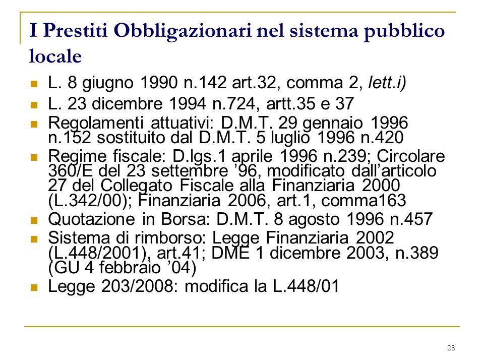28 I Prestiti Obbligazionari nel sistema pubblico locale L.