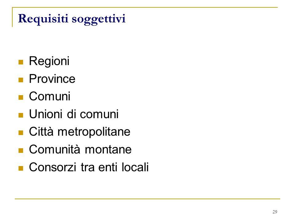 29 Requisiti soggettivi Regioni Province Comuni Unioni di comuni Città metropolitane Comunità montane Consorzi tra enti locali