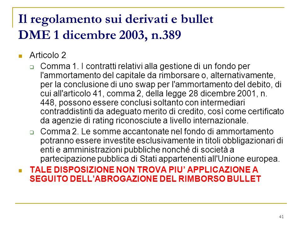 41 Il regolamento sui derivati e bullet DME 1 dicembre 2003, n.389 Articolo 2  Comma 1.