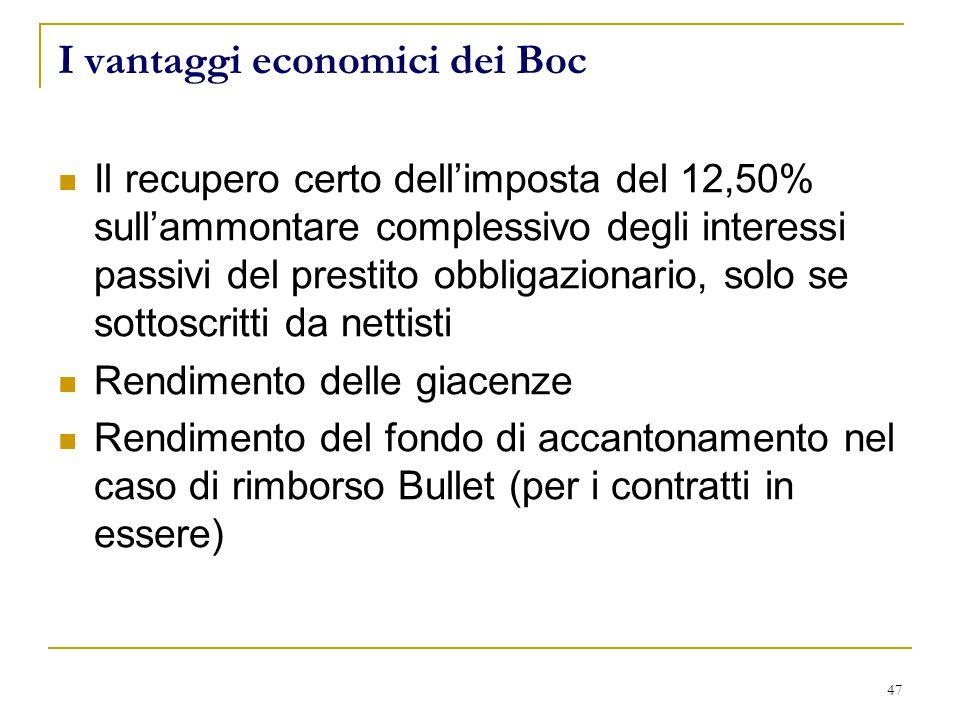 47 I vantaggi economici dei Boc Il recupero certo dell'imposta del 12,50% sull'ammontare complessivo degli interessi passivi del prestito obbligazionario, solo se sottoscritti da nettisti Rendimento delle giacenze Rendimento del fondo di accantonamento nel caso di rimborso Bullet (per i contratti in essere)