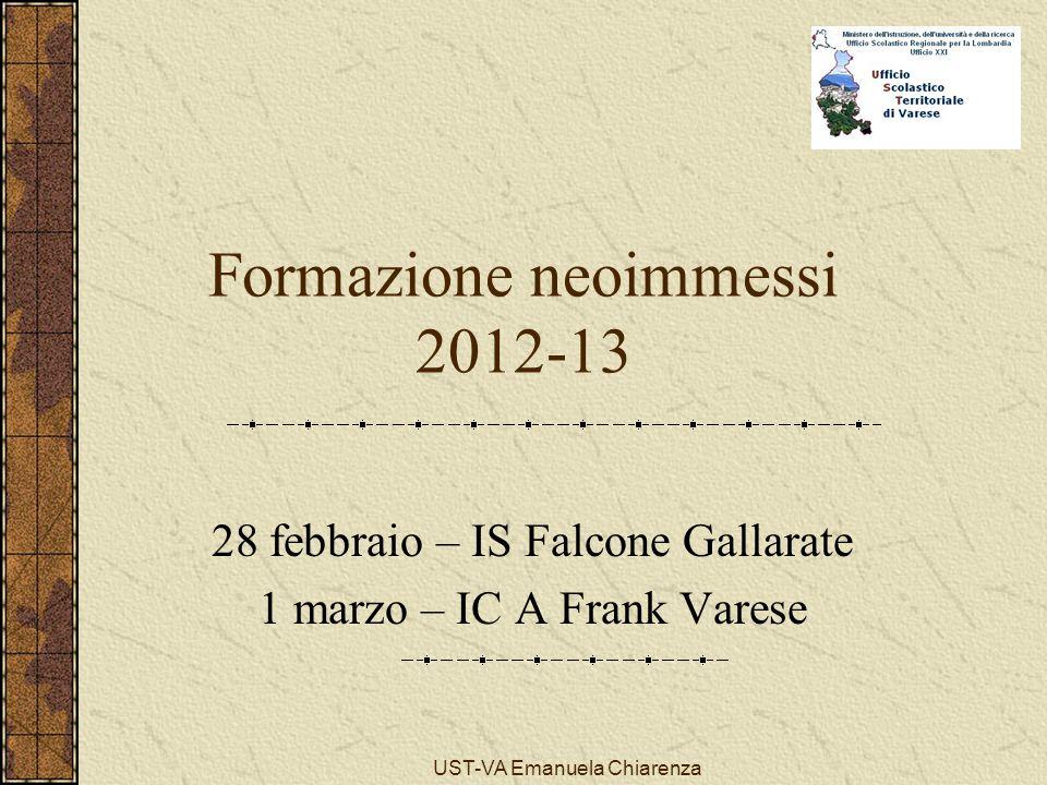 UST-VA Emanuela Chiarenza Formazione neoimmessi 2012-13 28 febbraio – IS Falcone Gallarate 1 marzo – IC A Frank Varese