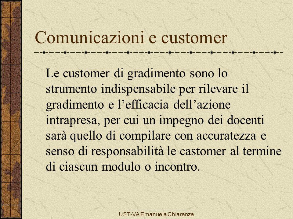 UST-VA Emanuela Chiarenza Comunicazioni e customer Le customer di gradimento sono lo strumento indispensabile per rilevare il gradimento e l'efficacia