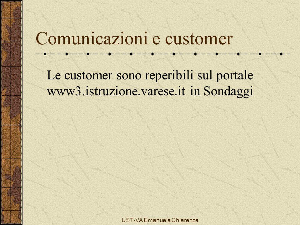 UST-VA Emanuela Chiarenza Comunicazioni e customer Le customer sono reperibili sul portale www3.istruzione.varese.it in Sondaggi