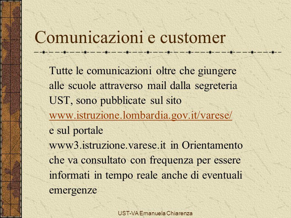 UST-VA Emanuela Chiarenza Comunicazioni e customer Tutte le comunicazioni oltre che giungere alle scuole attraverso mail dalla segreteria UST, sono pu