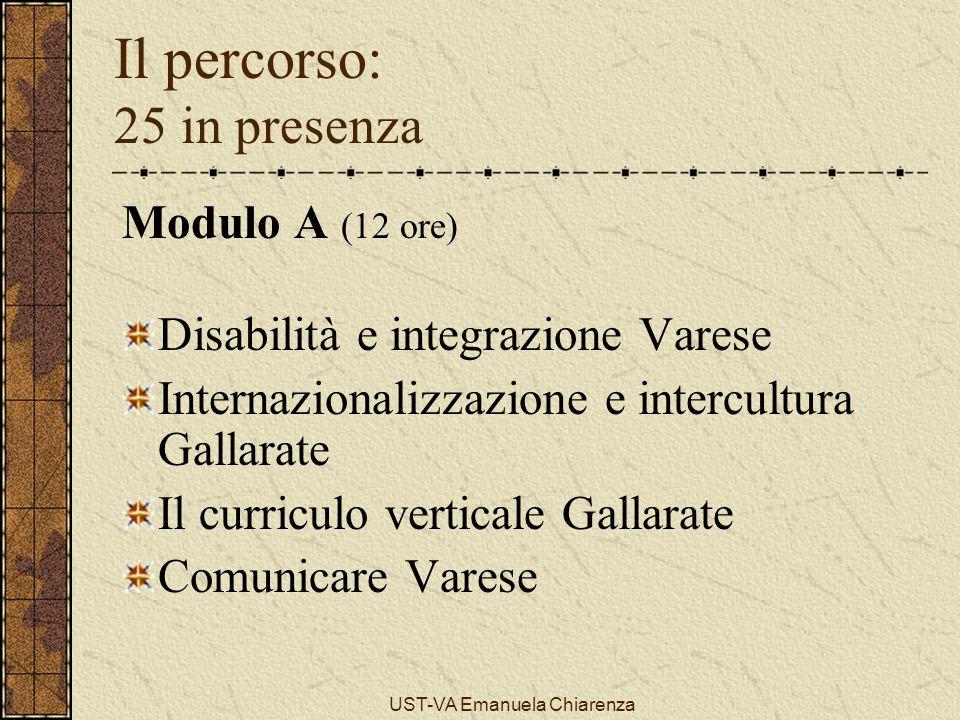 UST-VA Emanuela Chiarenza Il percorso: 25 in presenza Modulo A (12 ore) Disabilità e integrazione Varese Internazionalizzazione e intercultura Gallara