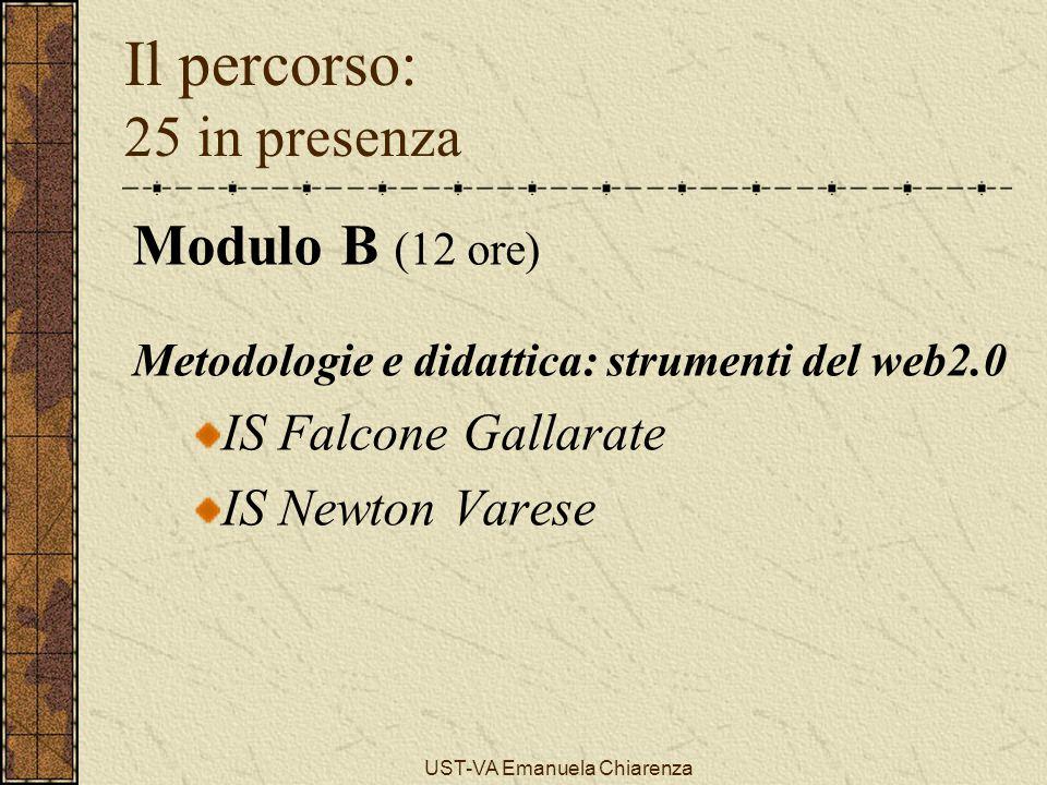 UST-VA Emanuela Chiarenza Il percorso: 25 in presenza Modulo B (12 ore) Metodologie e didattica: strumenti del web2.0 IS Falcone Gallarate IS Newton V