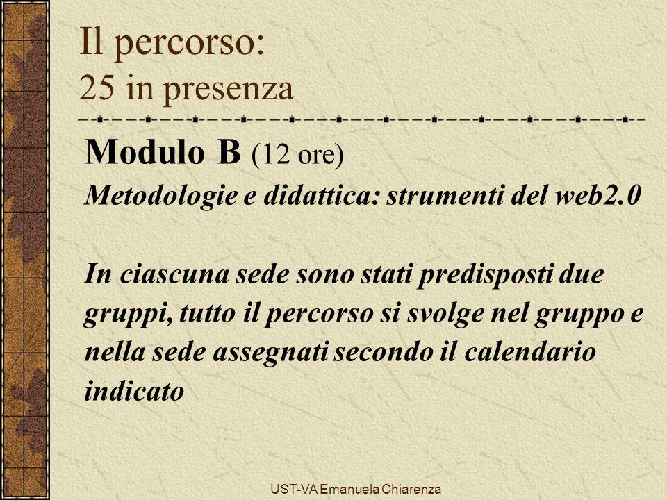 UST-VA Emanuela Chiarenza Il percorso: 25 in presenza Modulo B (12 ore) Metodologie e didattica: strumenti del web2.0 In ciascuna sede sono stati pred