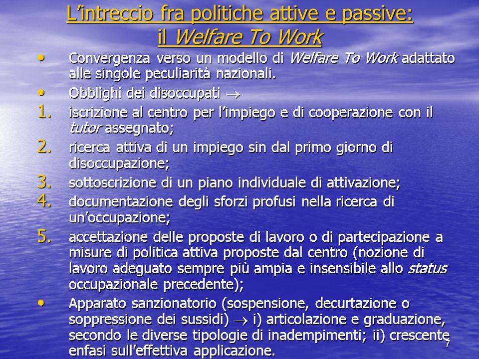 L'intreccio fra politiche attive e passive: il Welfare To Work L'intreccio fra politiche attive e passive: il Welfare To Work Convergenza verso un modello di Welfare To Work adattato alle singole peculiarità nazionali.