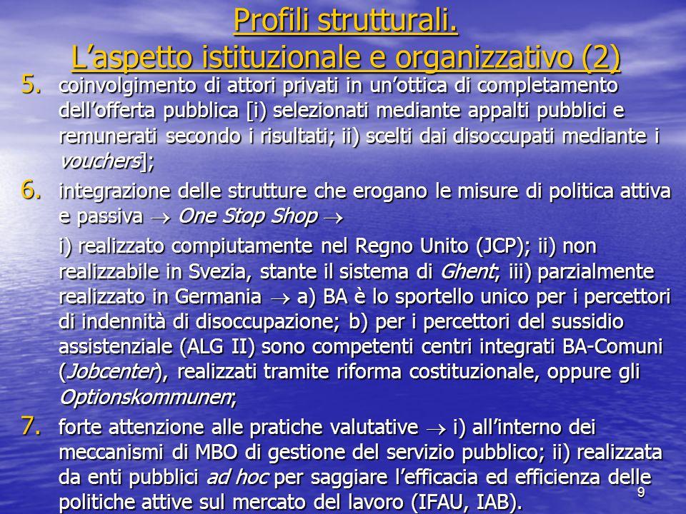 Profili strutturali. L'aspetto istituzionale e organizzativo (2) Profili strutturali.