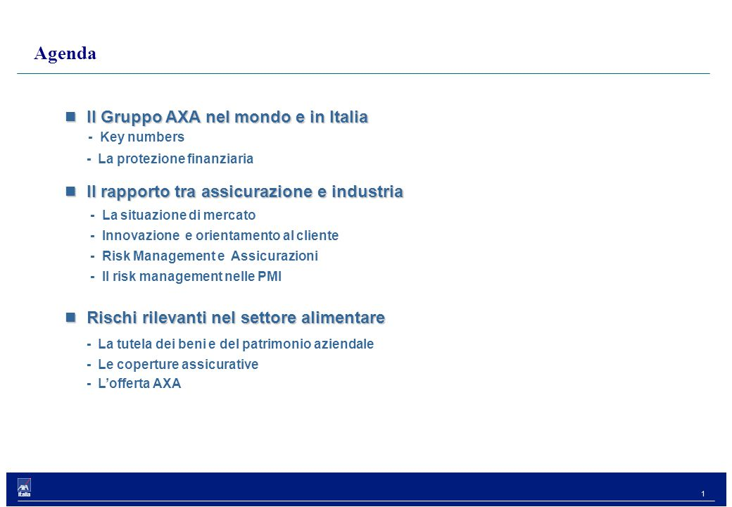 1 Italia Il Gruppo AXA nel mondo e in Italia Il Gruppo AXA nel mondo e in Italia - Key numbers - La protezione finanziaria Il rapporto tra assicurazione e industria Il rapporto tra assicurazione e industria - La situazione di mercato - Innovazione e orientamento al cliente - Risk Management e Assicurazioni - Il risk management nelle PMI Rischi rilevanti nel settore alimentare Rischi rilevanti nel settore alimentare - La tutela dei beni e del patrimonio aziendale - Le coperture assicurative - L'offerta AXA Agenda